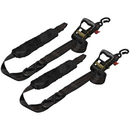 Drop-Tail Premium Motorcycle Tie-Down Straps W/ Plush Soft Ties 2x84 Pair Black