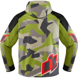 Icon Mens Merc Deployed Waterproof Armored Textile Riding Jacket Green