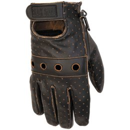 Black Brand Mens Vintage Knuckle Leather Gloves