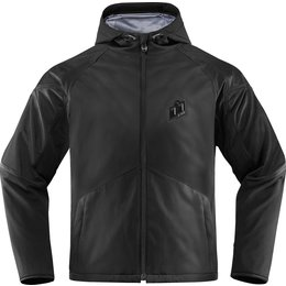 Icon Mens Merc Stealth Waterproof Armored Textile Riding Jacket Black