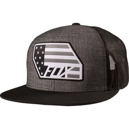 Fox Racing Mens Red White And True Adjustable Snapback Hat Black