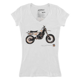 FMF Womens Kurt Caselli Sandstorm Short Sleeve V-Neck T-Shirt White