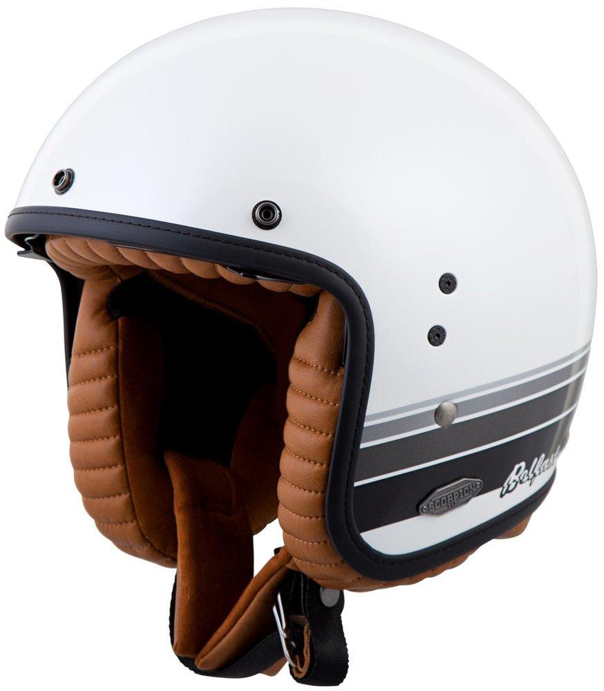 scorpion belfast blanco open face helmet 248863. Black Bedroom Furniture Sets. Home Design Ideas
