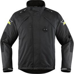 Icon Mens Raiden DKR Monochromatic Waterproof Armored Textile Riding Jacket Black