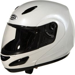 Pearl White Gmax Gm44 Flip Full Face Helmet
