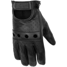Black Brand Mens Bare Knuckle Perforated Leather Gloves