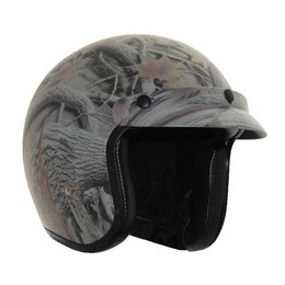 Vega X380 X-380 Forest Camo Open Face Helmet Grey