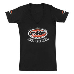 FMF Womens Retro Short Sleeve V-Neck Cotton T-Shirt Black