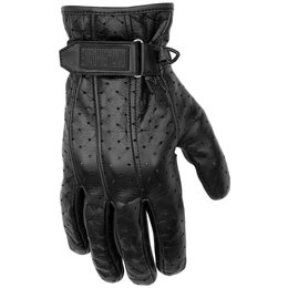 Black Brand Mens Filter Perforated Leather Gloves