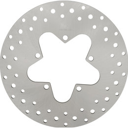 Drag Specialties Drilled One-Piece Rear Brake Rotor For Harley Natural 1710-1906