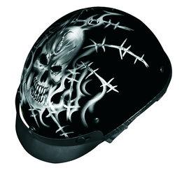 Black Vega Mens Xta Barbed Skull Half Helmet 2013