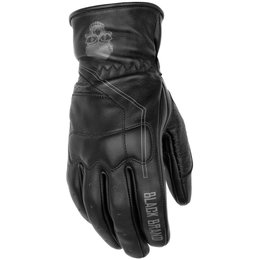 Black Brand Mens Pinstripe Deer Skin Leather Gloves Black