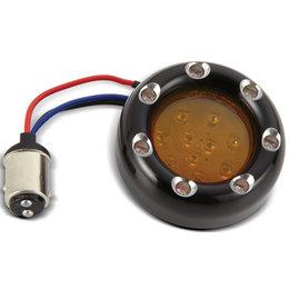 Black, Amber Ring Led's, Amber Lens Arlen Ness Fire Ring Kit For Deuce Style Turn Signal Dual Func Black Amber Amber