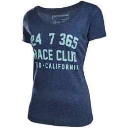 Troy Lee Designs Womens Race Club Scoop Neck Cotton Graphic T-Shirt Blue
