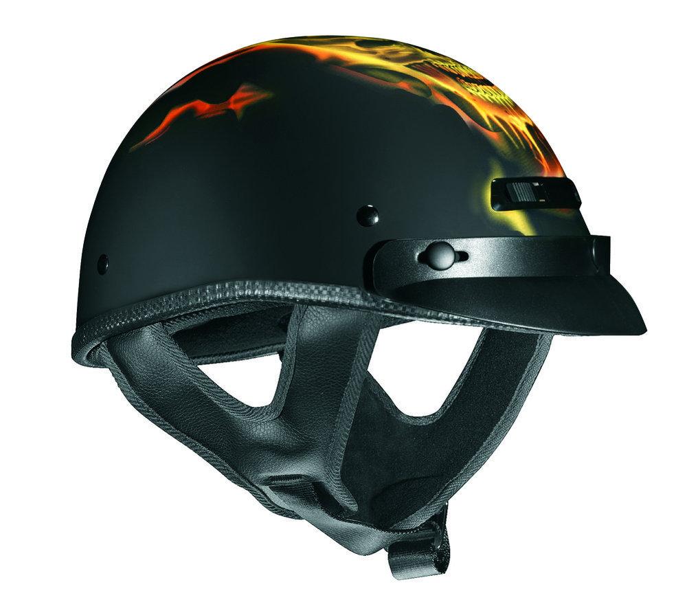 Full Face Cruiser Helmets >> $75.99 Vega Mens XTS Migraine Skull Flame Half Helmet #196001