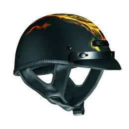 Black Vega Mens Xts Migraine Skull Flame Half Helmet 2013