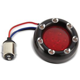 Black, Red Ring Led's, Red Lens Arlen Ness Fire Ring Kit For Deuce Style Turn Signal Dual Function Black Red Red
