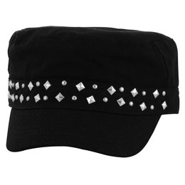Zan Headgear Womens Highway Honey Studded Adjustable Military Hat Black