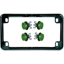 Black Frame/green Reflectors Chris Products License Plate Frame Black With Green Reflectors