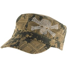 Zan Headgear Womens Highway Honey Studded Skull Adjustable Military Hat Brown
