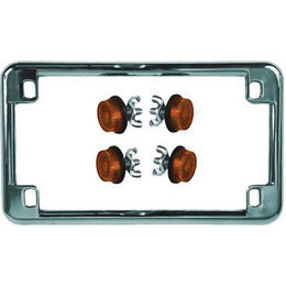 Chrome Frame/amber Reflectors Chris Products License Plate Frame Chrome With Amber Reflectors