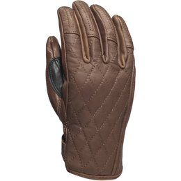 RSD Womens Riot Quilted Leather Riding Gloves Brown
