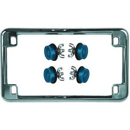Chrome Frame/blue Reflectors Chris Products License Plate Frame Chrome With Blue Reflectors