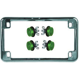 Chrome Frame/green Reflectors Chris Products License Plate Frame Chrome With Green Reflectors