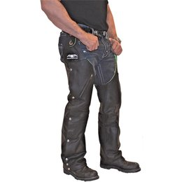 Missing Link Mens Reversible Leather To Hi-Viz Hook Chaps