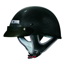 Gloss Black Vega Mens Cfs Carbon Fiber Weave Half Helmet 2013