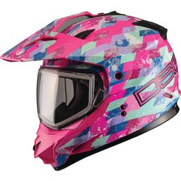 GMAX Womens Divas DSG GM11S Checked Out Sport Snow Helmet With Dual Pane Shield Pink