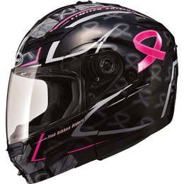 GMax Womens GM54S Pink Ribbon Modular Helmet With Flip Up Chin Bar Black