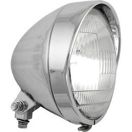 HardDrive Headlight Grooved Shell Bottom Mount 6.5 In For Harley 20-0338 Silver