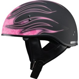 GMax Womens GM65 Skull Flame Naked Half Helmet Black