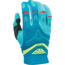 Fly Racing Youth Boys MX Offroad Evolution Riding Gloves Dark Teal, Hi-Vis
