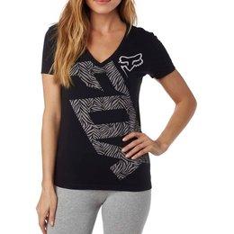 Fox Racing Womens Angled V-Neck Motocross Short Sleeve Poly-Cotton T-Shirt Black