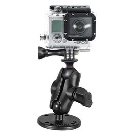 RAM Mount Flat Surface Mount Short Dbl Socket Arm 1 Inch Ball GoPro Hero Adapter