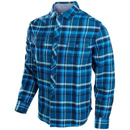 Troy Lee Designs Mens Octane Long Sleeve Cotton Blend Woven Button Up Shirt Blue
