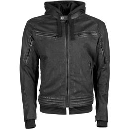 Speed & Strength Mens Straight Savage Armored Leather & Waxed Canvas Jacket Black