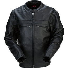 Z1R Mens 45 Leather Motorcycle Riding Jacket Black