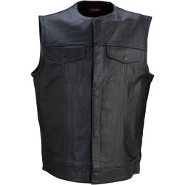 Z1R Mens 338 Motorcycle Leather Riding Vest Black