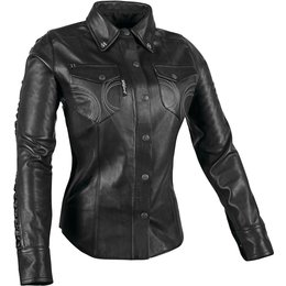 Speed & Strength Womens Black Heart Leather Moto Shirt Black