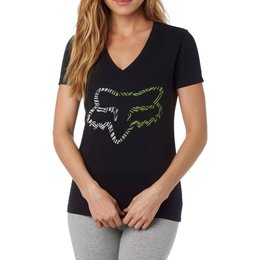 Fox Racing Womens Phoenix Relaxed Fit V-Neck Motocross T-Shirt Black