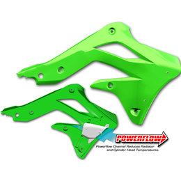 Cycra Powerflow Intake Radiator Shrouds Green For Kawasaki KX450F KX 450F 2013