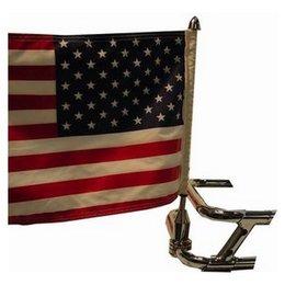 Stainless Steel Pro Pad 3 4 Saddlebag Bar Flag Mount 10 X 15 Flag For Harley Fl