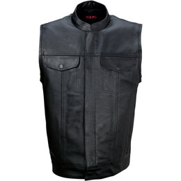 Z1R Mens 30-06 Leather Motorcycle Riding Vest Black