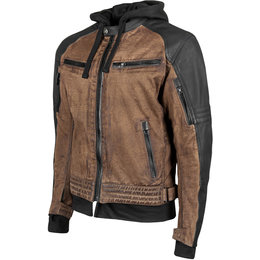 Speed & Strength Mens Straight Savage Armored Leather & Waxed Canvas Jacket Brown