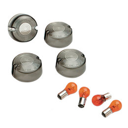Drag Specialties Domed Turn Signal Lenses With Bulbs 4 Pack For Harley 0906-6317