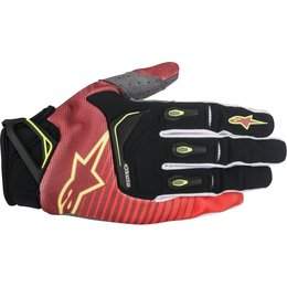 Alpinestars Mens Techstar MX Motocross Offroad Textile Riding Gloves Red