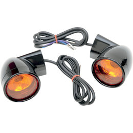 Drag Specialties Bullet Front Turn Signals For Harley Gloss Black 2020-0567